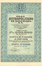 Gran Metropolitano de Barcelona SA, parte de fundador, Barcelona, 1921