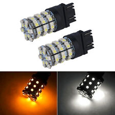 2x 3157 60SMD Dual Color Switchback Led White Amber Turn Signal Light Bulbs Lamp