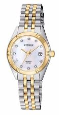 Ladies Citizen Quartz Gold Silver Stainless MOP Swarovski Date Watch EU6054-58D