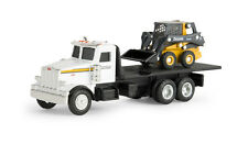 1/64TH ERTL JOHN DEERE PETERBILT FLATBED TRUCK WITH 320E SKIDSTEER