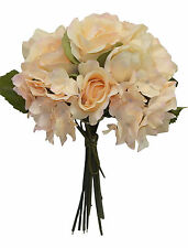 Beige ~ ROSES HYDRANGEA TULIPS Bridal Bouquet Silk Wedding Flowers Decorations