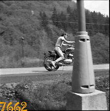 vintage negative! boy on motorbike, motorcycle JAWA Californian 1970's Czechoslo