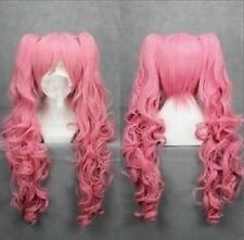 New Long pink Cosplay Straight Wig With Two Clip On Ponytails +Hairnet
