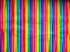 Purple Blue Yellow Orange Red Green Rainbow  Striped Window Valance