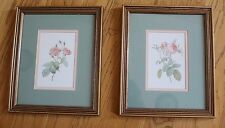 Pair of Pink Rose Green Matted Wall Pictures in Frames