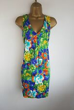 Zara Green Blue Floral Spring Summer Party Occasion Shift Dress Size S 10