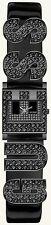 "NEW GUESS BLACK TONE,SWAROVSKI ""G"" LOGO PATENT LEATHER CUFF BAND  WATCH-U15088L1"