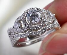 Three-Stone Round 6mm Zircon 10kt White Gold Filled CZ Women's Wedding Ring Sz7