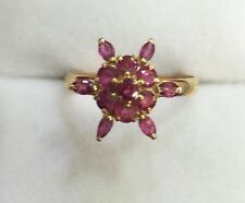 14k Solid Yellow Gold Cluster Flower Ring with Natural Ruby Round Marquise Cut