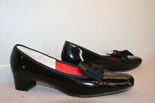 10 AAA RISQUE BLACK PATENT SLIP ON BOW TOE Vtg 60s MOD CHUNKY KITTEN HEEL Shoe