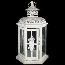 Lovely White Metal Lantern with Handle. Beautiful Home Decor.