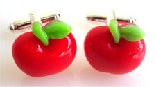 GORGEOUS HANDMADE RED APPLE CUFFLINKS + FREE GIFT BAG + FAST FREE P&P