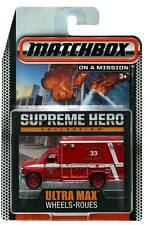 2015 Matchbox Supreme Hero Ultra Max Wheels Ford E-350 Ambulance
