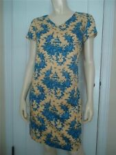 TALBOTS PETITES Gazebo Roses Cotton Sheath Dress 6 Lined Short Slv Back Zip CHIC