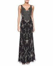 Alice + Olivia Nessa Beaded Scallop Chiffon Gown Embellished Dress Size 2 $1698