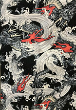 Japanese Asian Quilting Fabric - Hokkoh Dragons & Waves - Dobby Weave - Black