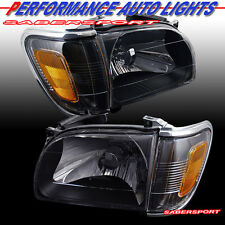 BLACK HOUSING HEADLIGHTS + CORNER LIGHTS 4PCS COMBO FOR 2001-2004 TOYOTA TACOMA