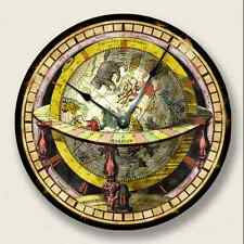 GLOBE MAP wall CLOCK - Vintage Print - Antique Old World Look - 7012_FT