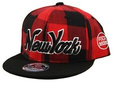 YOUTH KIDS Lumberjack Check NY New York Snapback Checkered Snap Back Cap Hat