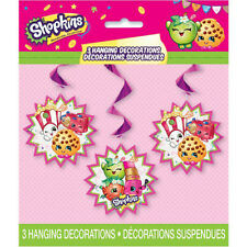 SHOPKINS HANGING DECORATIONS (3) ~ Birthday Party Supplies Foil Swirls Kooky