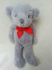 SAINSBURYS SOFT CUDDLY TOY GREY BABY TEDDY BEAR RED BOW TIE NEXT EASTER