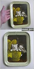 "Vintage Litho Tin Tray ""Three Pussy Cats"" Romania East Europe 1970's"