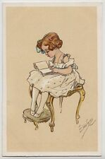 POSTCARD - artist signed Elda Cenni, beautiful girl child reading book