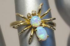 """A SOLID 9ct GOLD FIERY OPAL """"SPIDER"""" BAND RING SIZE O (US 7.25)"""
