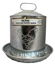 Galvanized Metal 2 Gallon Chicken Water Fountain / Poultry Drinker