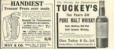 WW1 Tuckey's Pure Malt Whiskey For Connoisseurs Ad