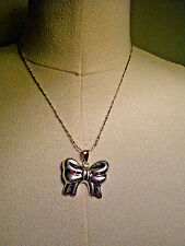 """1980 GIFT BOW PENDANT NECKLACE & 16"""" CHAIN / STERLING SILVER/ Brilliant cut"""
