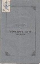 FIRENZE NECROLOGIA DEL SACERDOTE GIUSEPPE TOSI DELLA MISSIONE 1842 ELBA