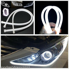 One Pair 60cm Soft Tube White SMD 3020 7.5W Car Truck DRL Guide LED Strip Lights