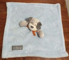 Blankets & Beyond Fluffy Blue & White Puppy Dog Baby Boy Security Blanket EUC
