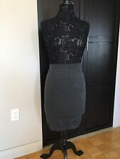 Lanvin Gray Wool Knit Stretch Sexy Slinky Pencil Tube Skirt Lg NWT
