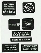 funny decals for bikes and cars ( set of 8 stickers)