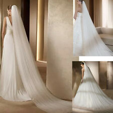 Pure White 2 Layer Long 3M Soft Cathedral Bridal Wedding Veil With Comb Church
