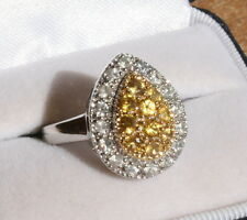Genuine Natural Yellow and White Sapphire Pear Shape Ring 10k White Gold