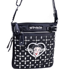 Classic Betty Boop Messenger Bag with Rhinestones and Cut Out Design - Black