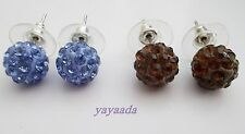 Pack 2 pairs of Beautiful Crystal Disco Ball Beads stud Earrings