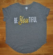 NWT Womens STATE OF MINE Gray Heather Be-YOU-tiful Shirt Size XL