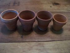 "4 FLOWER POTS - TERRA COTTA - small - 2.5"" x 2.5"" - Vintage/Shabby Chic"