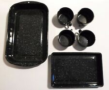 Mid-Century Black & White Speckled Enamel Ware Pans & Cups