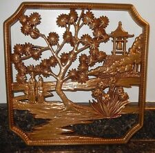 Syroco Gold Chinoiserie Wall Plaque With Shanghai Motif~EXC~Fast Shipping