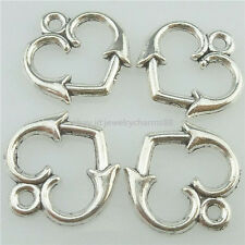 16183 50PC Alloy Antique Silver Vintage Nice Cute Mini Lover Heart Pendant Charm