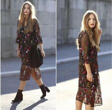 ZARA Black Floral Embroidered Dress Long Sleeves Large L Midi Flower Pattern