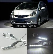 2x White LED DRL Driving Daytime Running Day Fog Lamp For Honda Fit Jazz 2011-13