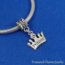 Silver PRINCESS CROWN Dangle Bead CHARM Tiara fits EUROPEAN Bracelet