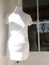 Isabella Oliver Maternity S/ sleeve Ruched Essential WhiteTop New sz 4 UK 14