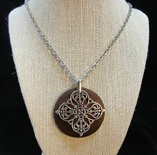 Cookie Lee Long Necklace NWT Silver Celtic Cross Brown Medallion Silver Chain